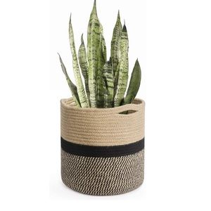 Accents - New Jute Rope Plant Basket Modern Woven Basket